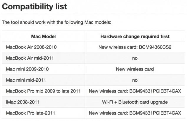 setup handoff on older macs