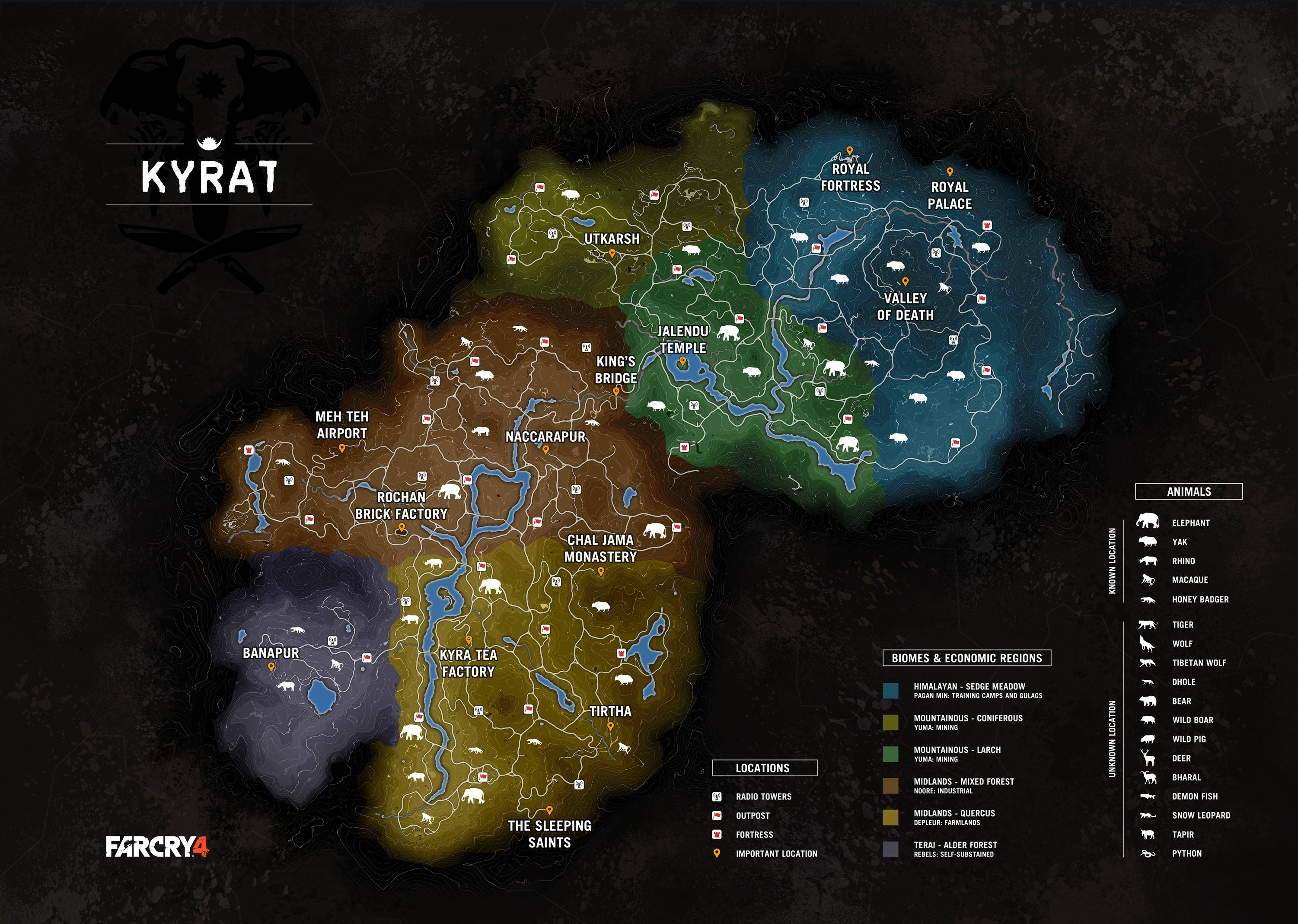 Leaked Image Reveals Far Cry 4 S Map And Details Including A List Of In Game Animal Species