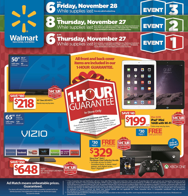 Walmart Black Friday. Please scroll down to see Walmart Black Friday Ad. Walmart Black Friday Sale will start online on 10PM ET and in Store on Thanksgiving day at 6 PM. Their Pre Black Friday sale is going to run until Wednesday. Walmart is adding new items to their Pre Black Friday Sale every day.