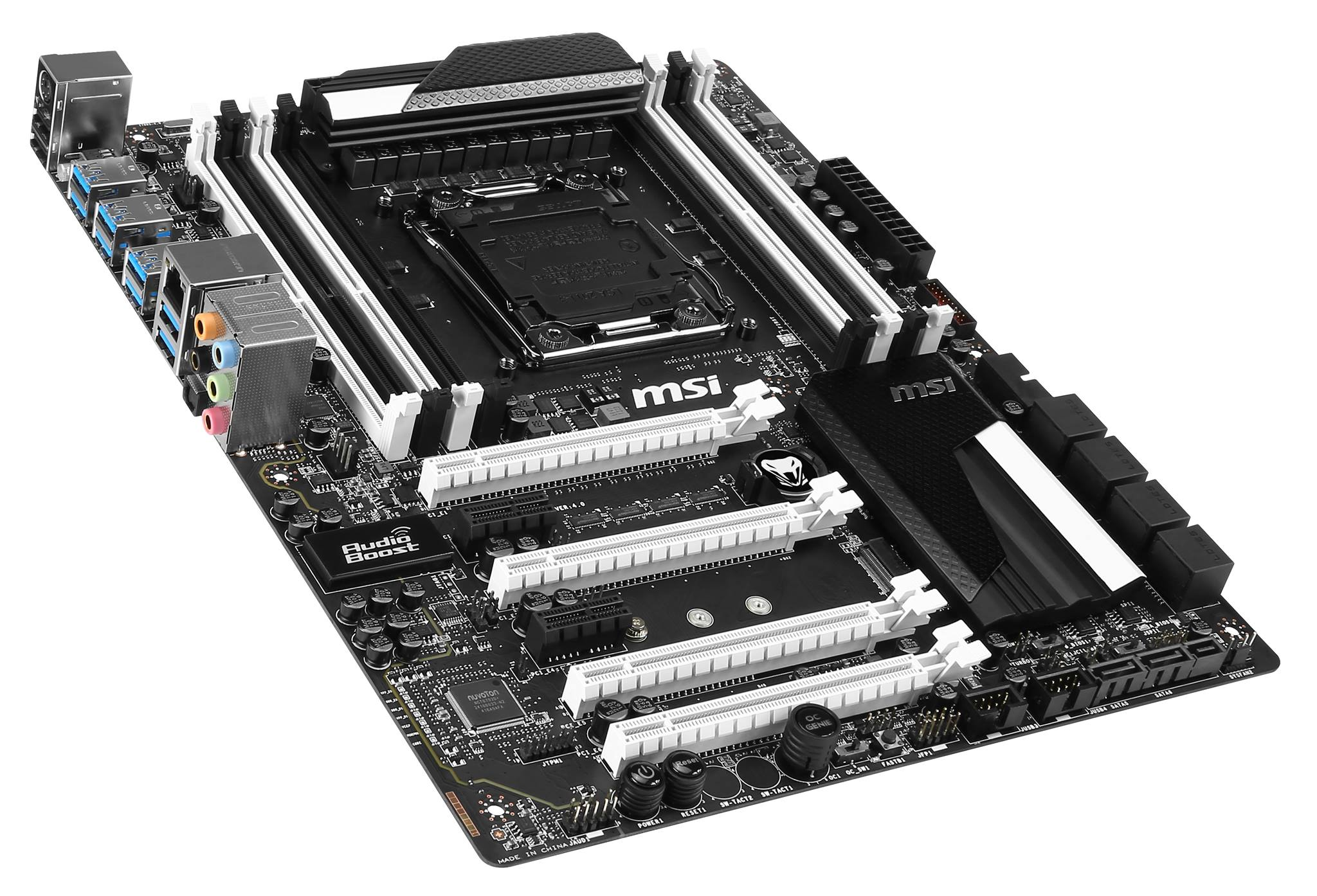 msi x99s sli krait edition motherboard pictured features black and white color scheme to. Black Bedroom Furniture Sets. Home Design Ideas