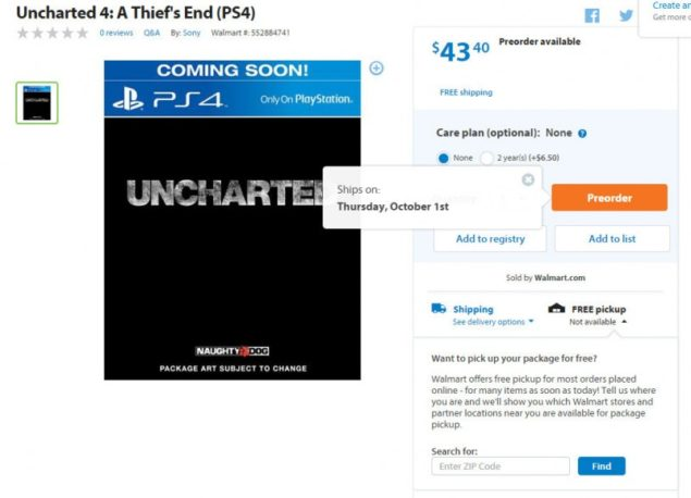 Uncharted 4 release date leak