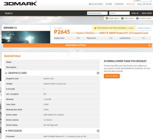 AMD FX-8800P Carrizo APU
