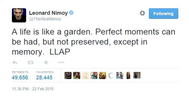 Leonard Nimoy Tweet