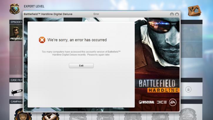 Battlefield: Hardline DRM Won't Let You Play the Game Due to