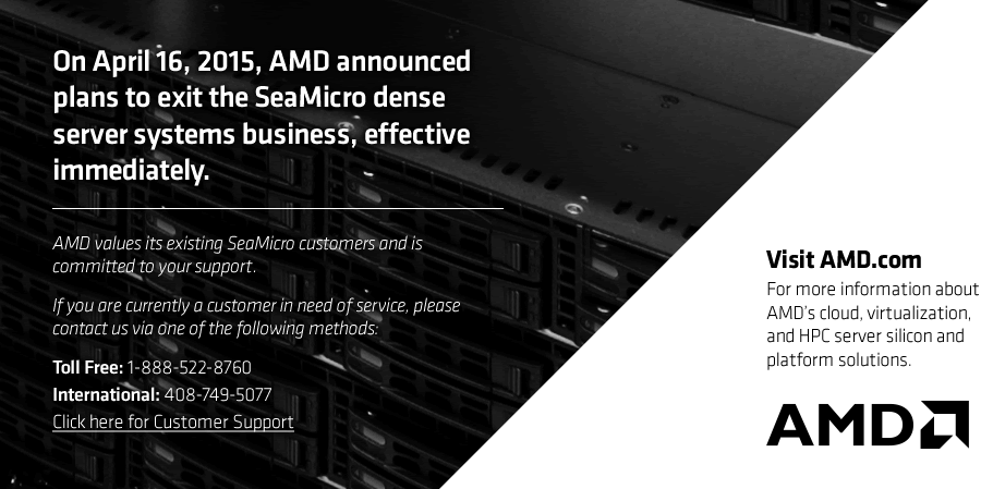AMD SeaMicro Closure