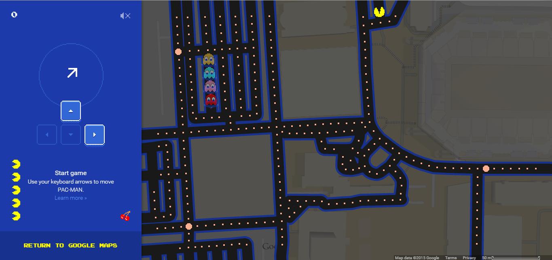 Google Brings Back Old Memories With Pac-Man in Google Maps on google drive map, google story map, autocad map, google maps map, google love map, google earth map, google sketch map, google run map, navigation map, google make map, google hotel map, google move map, mac map, google walk map, google volume map, google fish map,