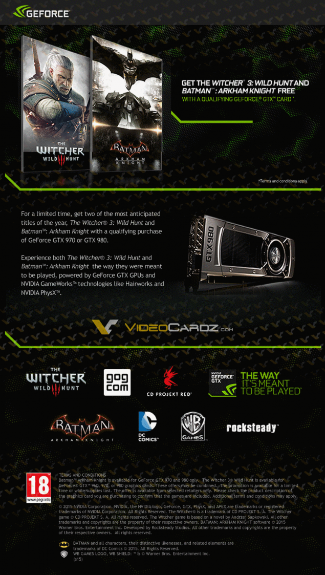 NVIDIA GeForce Bundle Witcher 3 and Batman Arkham Knight_GTX 970_GTX 980