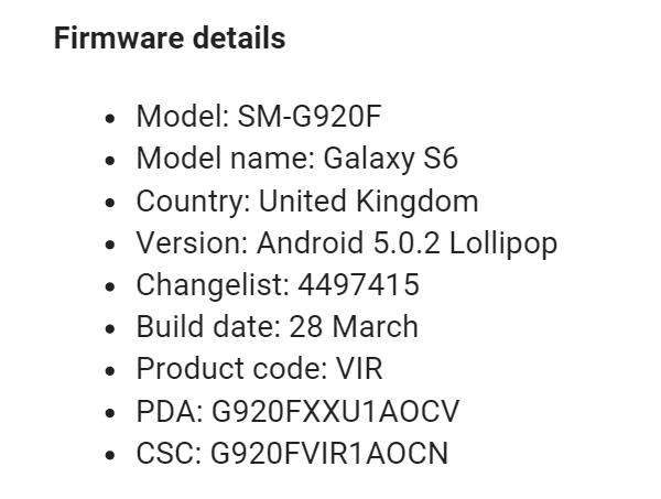 Firmware details