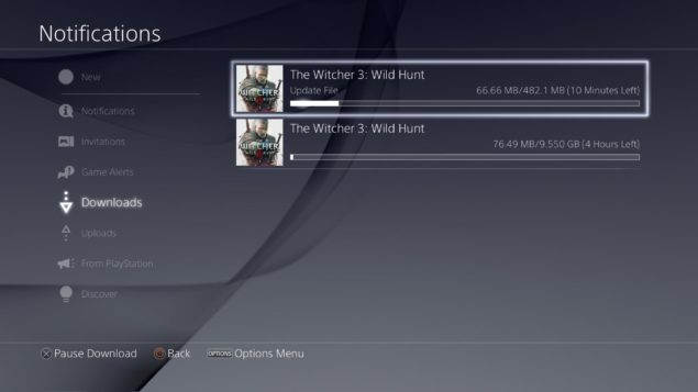 Witcher 3 PS4 Pre-load