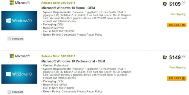 Newegg Leaks Windows 10 Home And Professional OEM Prices