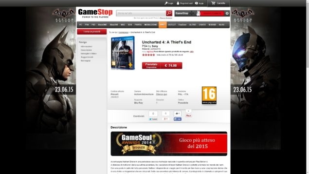 Uncharted 4 Gamestop