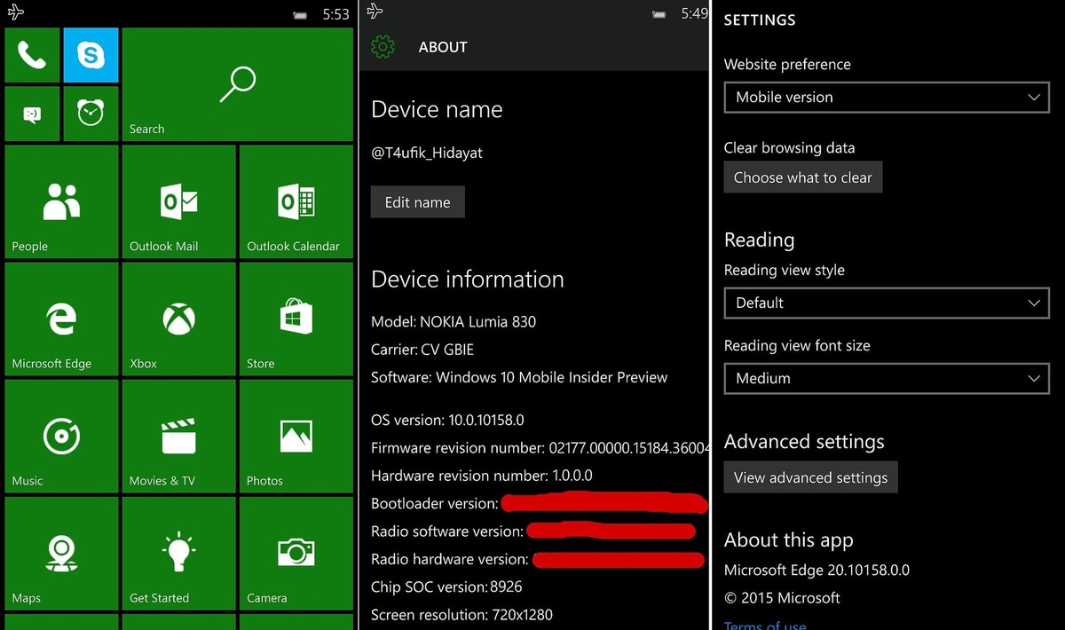 windows 10 mobile screenshots leaked. Black Bedroom Furniture Sets. Home Design Ideas