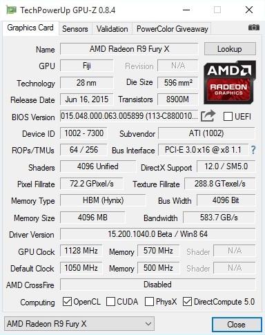 AMD Radeon R9 Fury X Memory / VRAM overclocked GPU-Z