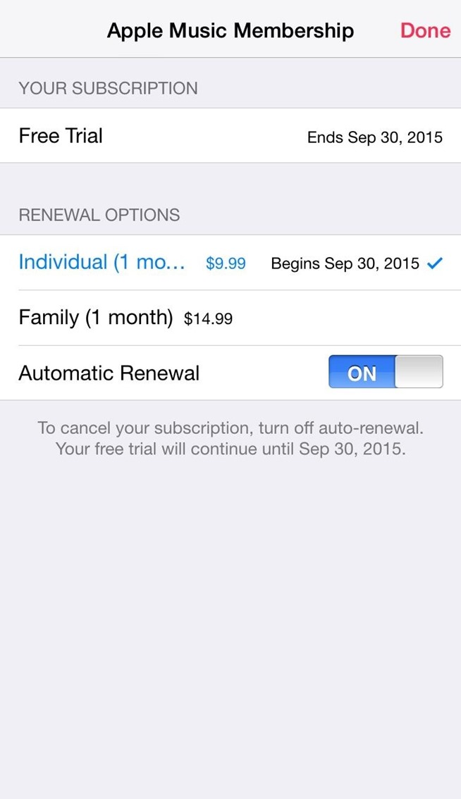 Auto renewal subscription