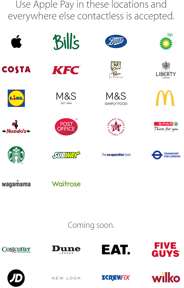 Apple Pay UK Brands