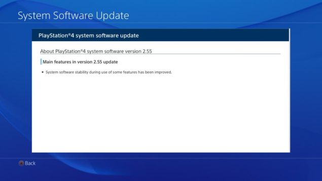 PS4 Firmware Update, Version 2.55