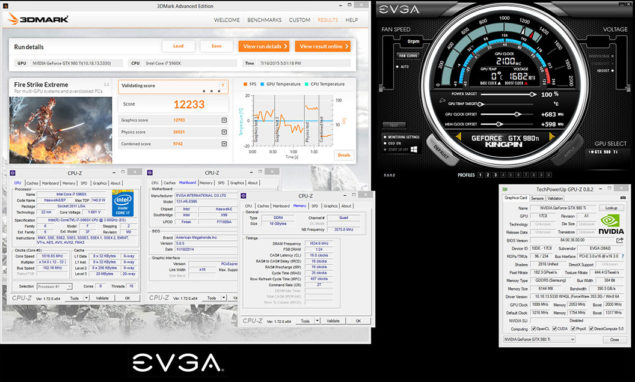 EVGA GeForce GTX 980 TI KINGPIN_2100 MHz OC Record