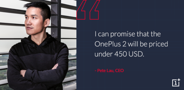 OnePlus 2 will carry a price tag less than $450