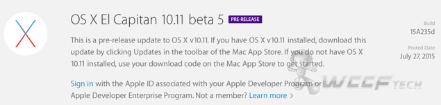 OS X El Capitan Beta 5 download