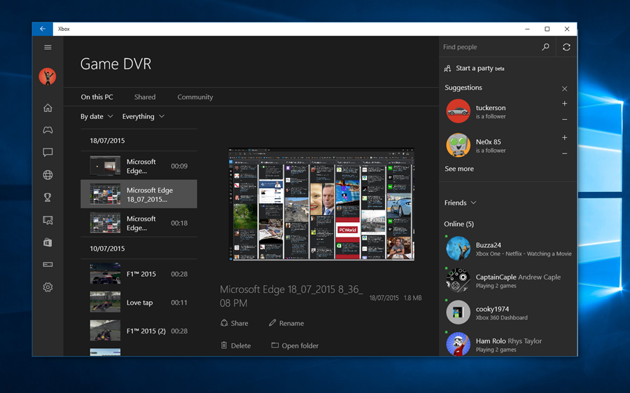 Windows 10 will come with a video recording feature
