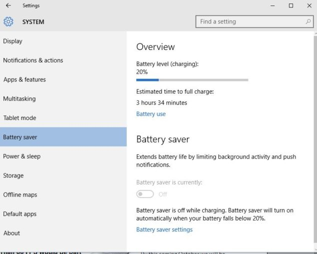 battery saver windows 10