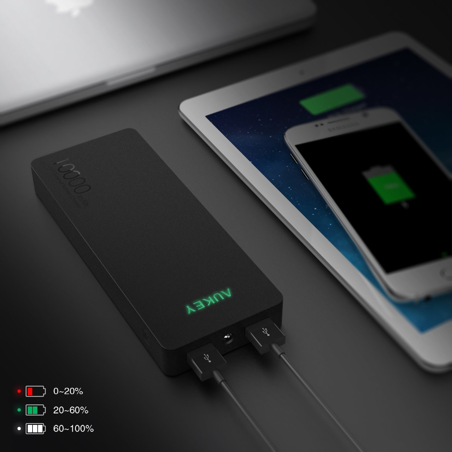 Aukey 10000mah Quick Charge 20 External Battery Can Pa U28 Turbo Charger 18w Fastcharging