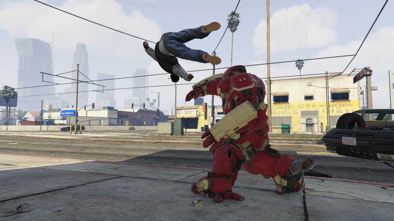 Iron Man's Hulkbuster Armor Smashes Into GTA V