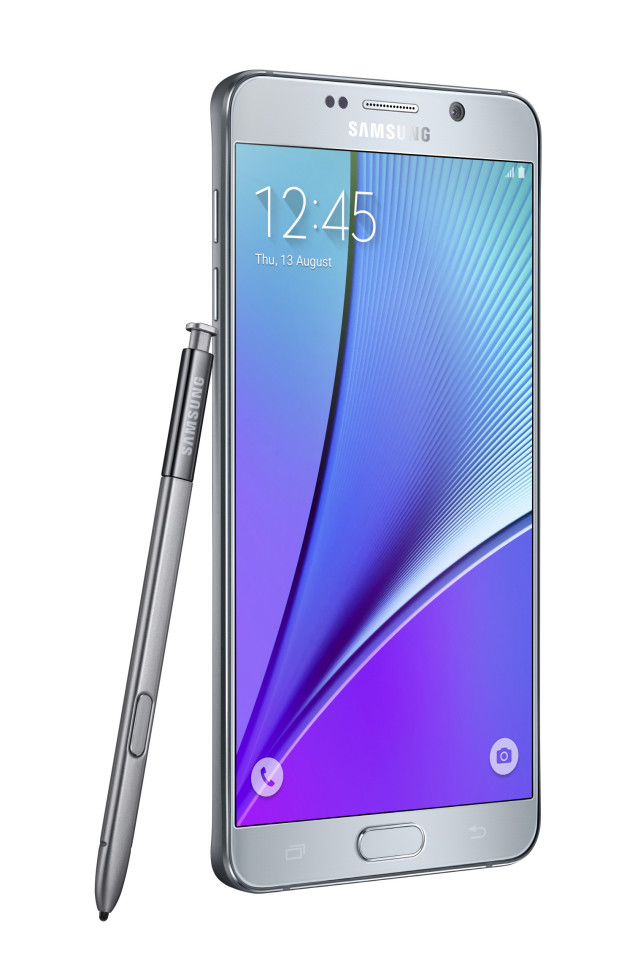 Galaxy-Note5_left-with-spen_Silver-Titanium