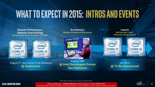 Intel Skylake 2015