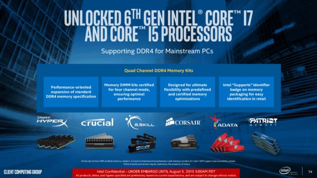 Intel Skylake DDR4 Memory Support