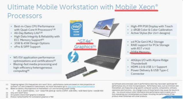 Intel Skylake Mobile Xeon E3-1500 V5
