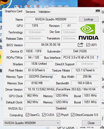 NVIDIA Quadro M5000M