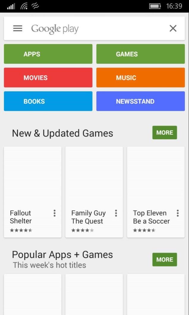 Play Store on Windows