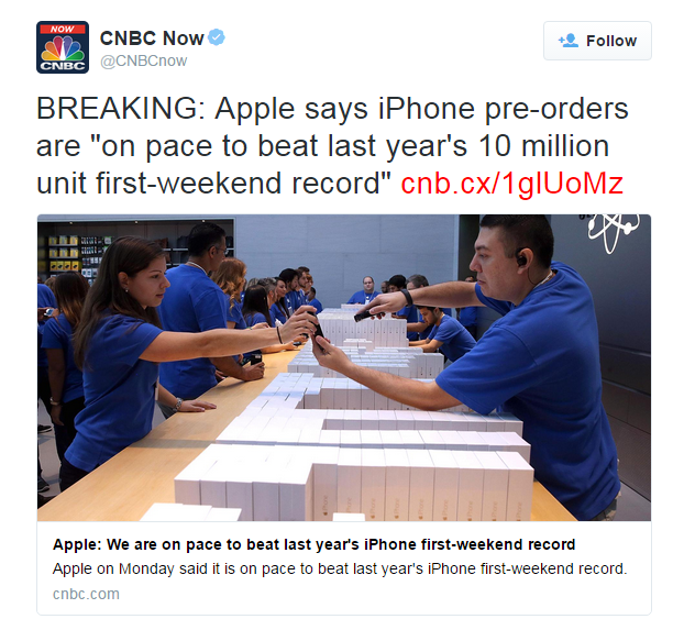 Apple Expecting iPhone 6s/iPhone 6s Plus Pre-orders To Exceed 10 Million During Launch Period