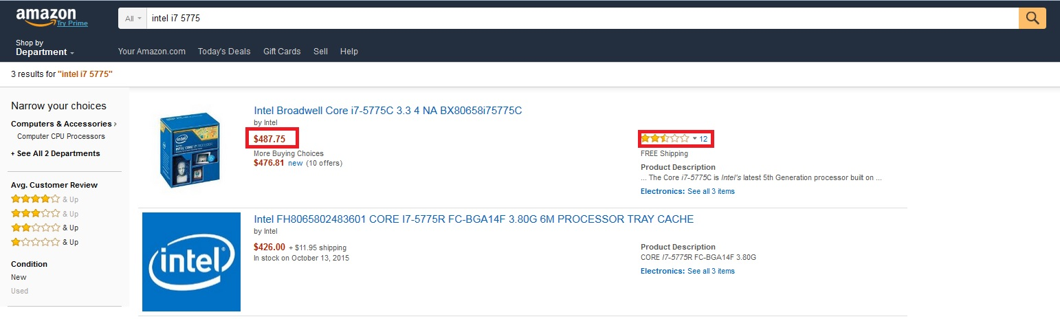 desktop broadwell i7 5775c CPU amazon