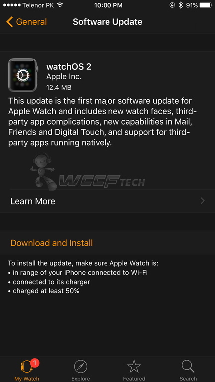 watchOS 2 update