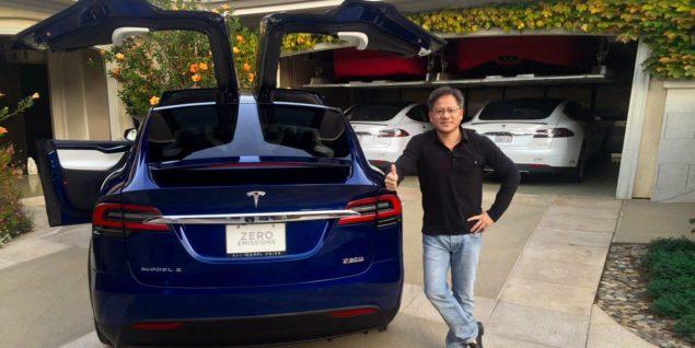 Jen-Hsun Huang Tesla Model X P90D