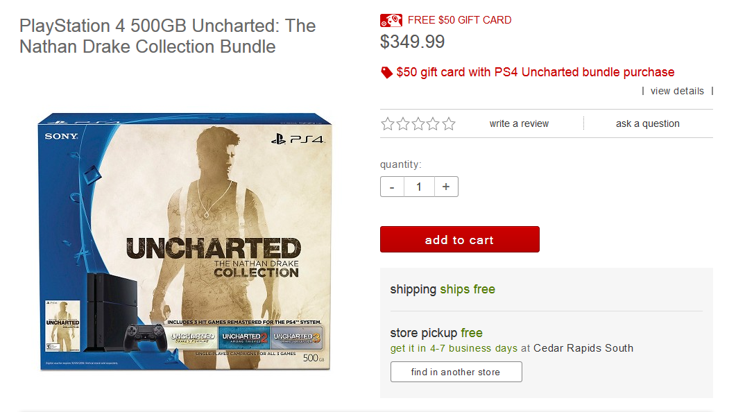 Grab A Ps4 Console For 350 With 50 Gift Card And Uncharted The