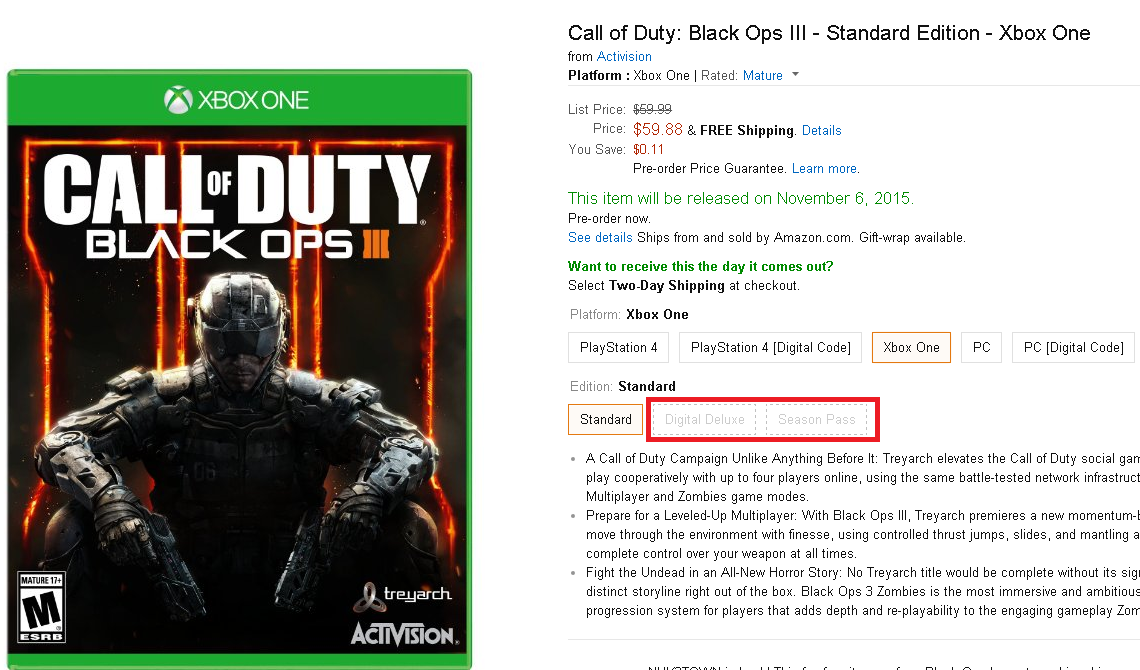 black ops 3 xbox one download code free