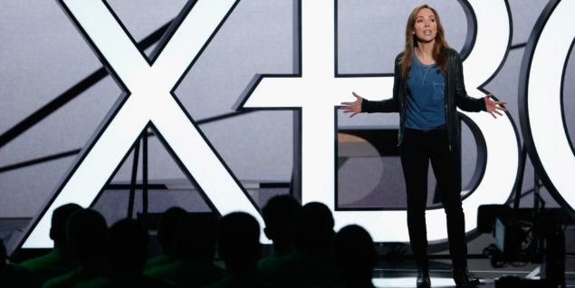 LOS ANGELES, CA - JUNE 15:  Microsoft Vice President and Head of 343 Industries Bonnie Ross speaks during the Microsoft Xbox E3 press conference at the Galen Center on June 15, 2015 in Los Angeles, California. The Microsoft press conference is held in conjunction with the annual Electronic Entertainment Expo (E3) which focuses on gaming systems and interactive entertainment, featuring introductions to new products and technologies.  (Photo by Christian Petersen/Getty Images)