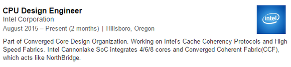 Cannonlake LinkedIn Intel Engineer Profile