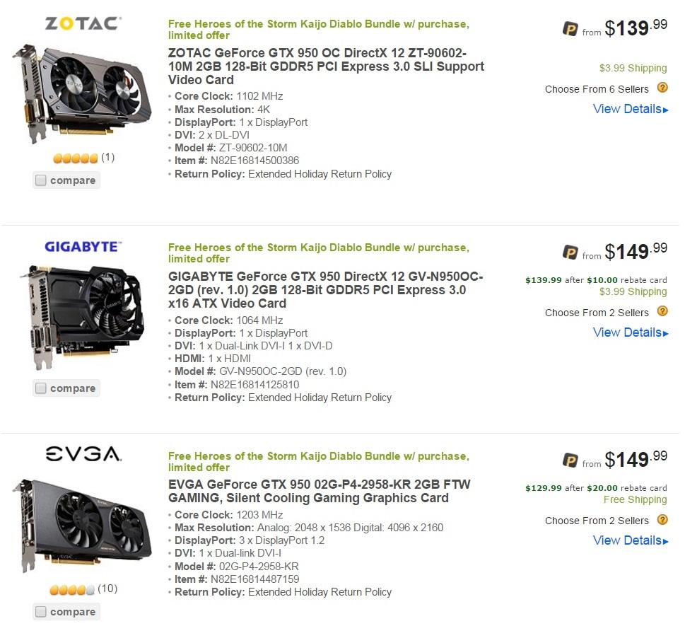 Nvidia GTX 950 Price Cuts