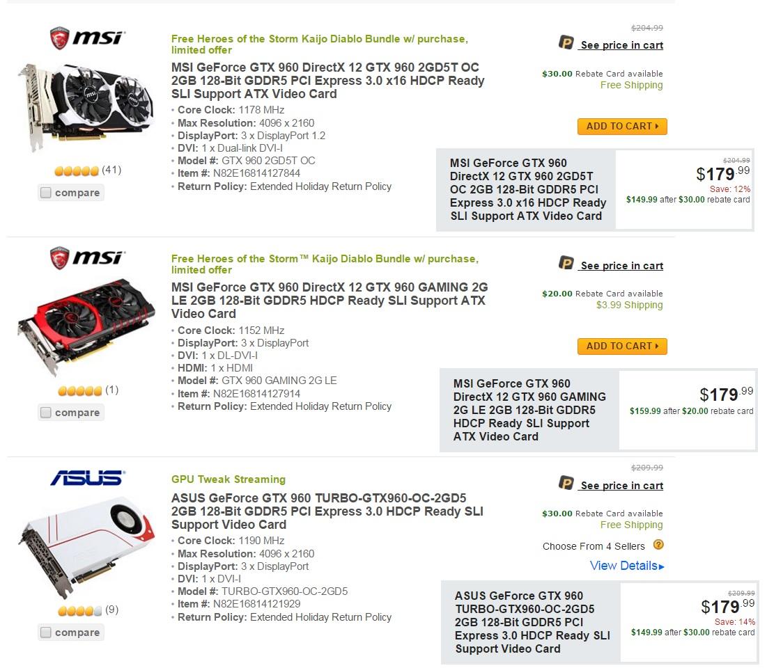 Nvidia GTX 960 Price Cut