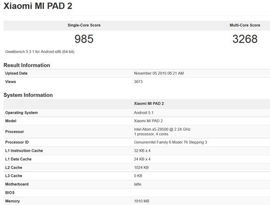 Xiaomi Mi 2 Pad Has an Intel CPU According To This Benchmark