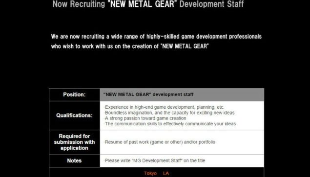 Konami Recruting for new Metal Gear Game
