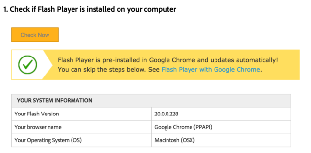 adobe flash player in chrome