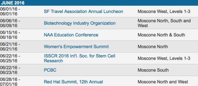 Moscone WWDC 2016 dates