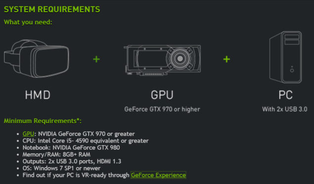 NVIDIA GeForce GTX VR Ready Program