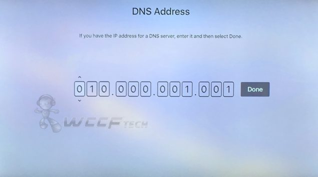 how to change dns apple tv