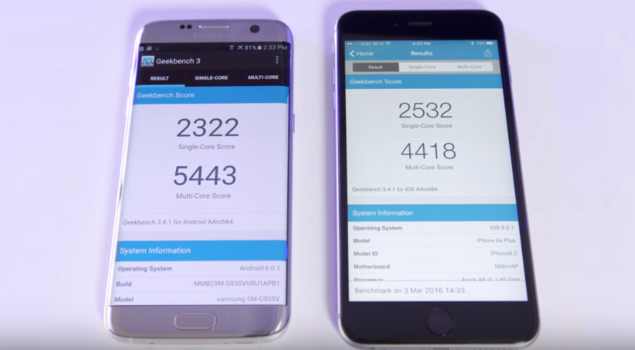 Iphone 6s vs samsung s7 antutu
